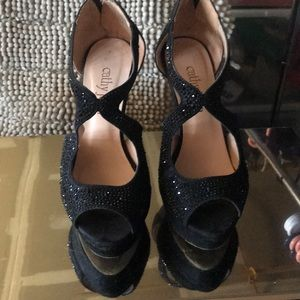 Cathy Jean black rhinestone platforms